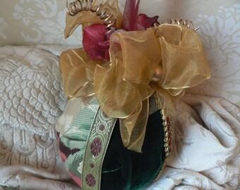 Ruby Hydrangea Green Velvet Gold Organza Ribbon 4-inch Egg Christmas Ornament