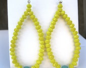 Hoop Earrings with Yellow Crytals and Faceted Round Agate