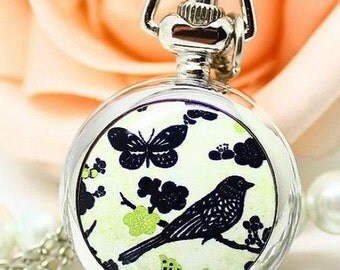 1pcs butterfly with bird pocket watch charms pendant  PW0089   25mmx25mm