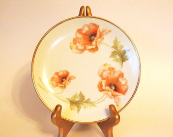 Antique Cabinet Plate RS Germany RS Prussia Display Porcelain China Plate Yellow with Orange Poppies and Gold Trim - Germany - Home Decor