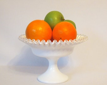 Fenton Milk Glass Pedestal Bowl | Silver Crest | Vintage Milk Glass | Mid Century Dining Table | Fruit Bowl | Display Bowl