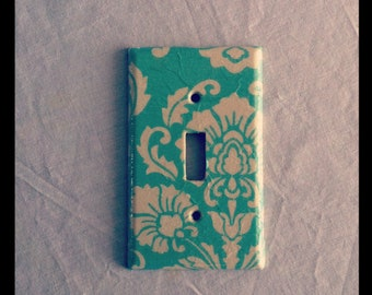 Mint and White Damask Light Switch Plate