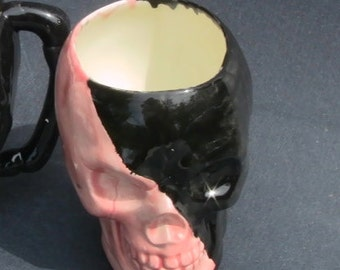 SKULL candy or coffee MUG, Halloween, Dia de los Muertos, ceramic planter, decor, or great Gift. GOTH Orange black