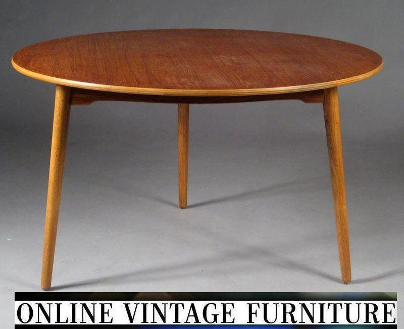 RARE 1950s Hans Wegner Heart tripod table teak round mid