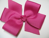 Hot Fuschia Valentines Love Pink Hair Bow Simple Traditional Basic Classic Style Toddler Girl