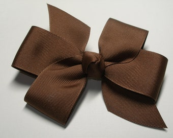 Back to School Fall Brown Hair Bow Uniform Simple Traditional Basic Classic Style Toddler Girl