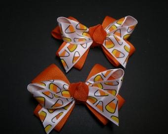 Halloween Hair Bows Pig Tail Pair FaLL Candy Corn Cuties Toddler Girl Grosgrain
