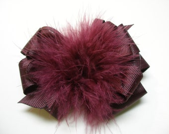 Princess Hair Bow Dark Burgundy Merlot Red Wine Marabou Posh Diva Girl OTT Boutique Toddler School Uniform Casual Pageant Wear