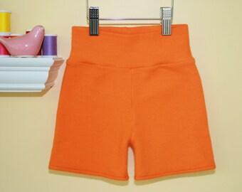 Medium Poppy Orange Interlock Wool Shorties - Cloth Diaper Cover - Wool Cover - Wool Shorts - GoneEco