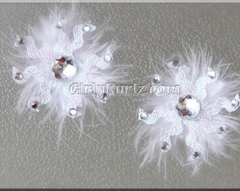 WHITE Sparkly Snowflake Hair Clip, Winter Hair Bow, Winter Hair Clip, Snowflake Bow, Hair Bow for Girls