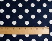 Vintage Navy Blue Polka Dot Fabric