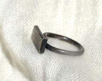 Sterling Silver Ring, Geometric Plank Ring with Crossed Band, One-of-a-Kind