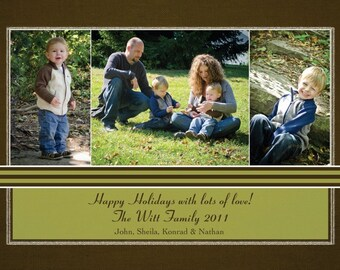 Green and Brown Happy Holidays Photo Card (3 photos)