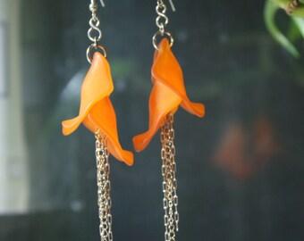 Orange Rose Petal Drop Earrings with Sterling Silver Chain - FREE U.S. Shipping