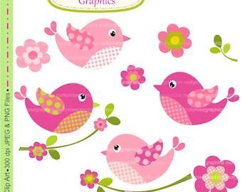 SALE Birds clip art , Digital Clip Art birds and flowers, Invitation, Card Making, Scrapbooking , pink ,  M.34