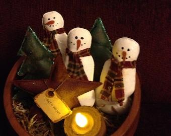 """Primitive Snowman bowl fillers """"Let it snow"""""""
