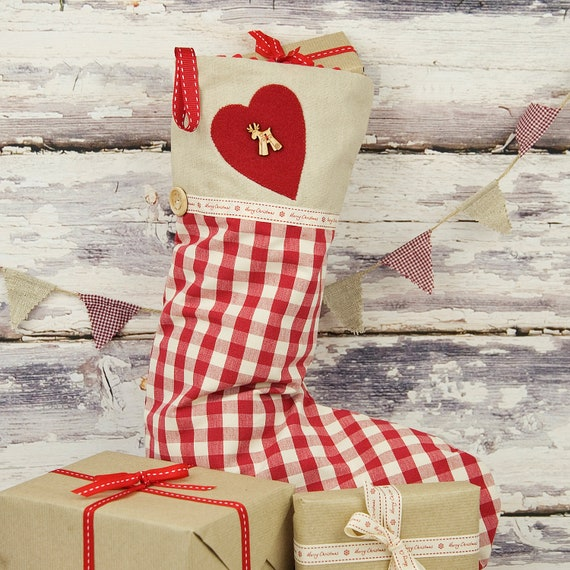 Christmas Stocking in Festive Red Gingham