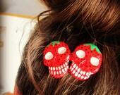 Strawberry Skull Handpainted Hair Decoration YUM
