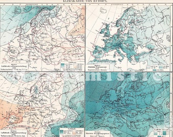 1894 Climate Chart of Europe in the 19th Century Antique Map