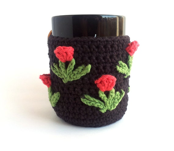 Crochet Coffee Mug Cozy with Pink Tulips, Coffee Cozy, Crochet Tea Cozy