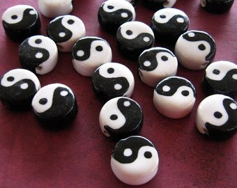Yin Yang Beads Black White Ceramic and White Buddhist Asian Handpainted Glazed Wholesale Jewelry Supplies Supply Online Site CrazyCoolStuff