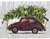 Car Hauling Christmas Tree - VW - Dictionary Print, Vintage Art, Upcycled Art