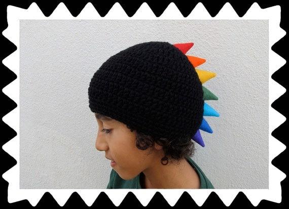 funky Kid Hat boys girls black rainbow with lining Size M
