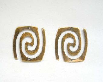 2 Antique Bronze Rectangle Swirl Connectors - 1-SW-3