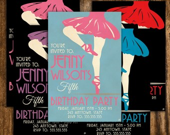 Retro Style Ballet Birthday Invitation