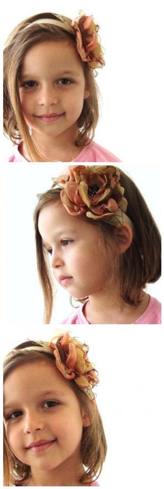 Caramel Orange Mix Organza Flower Headband Mother Daughter Hair Accessory Sash Corsage  OOAK Fall Wedding