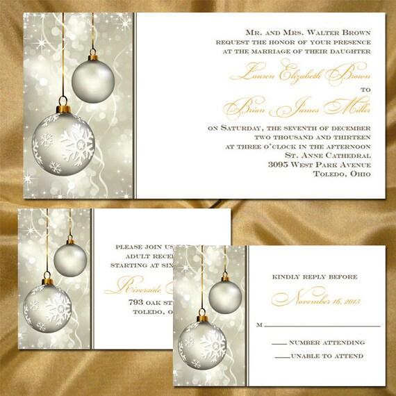 Custom Winter Wedding Invitations with Christmas Ornaments