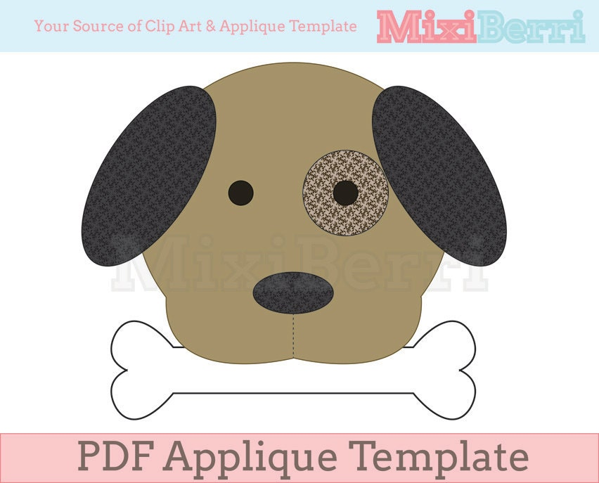 Dog and Bone Applique Template PDF Instant Download