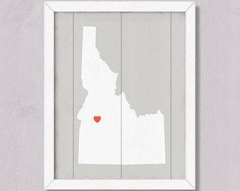 "Rustic decor IDAHO wall hanging-  16""x20""  Handmade Personalized Custom Wood Sign - Wedding gift Housewarming gift"