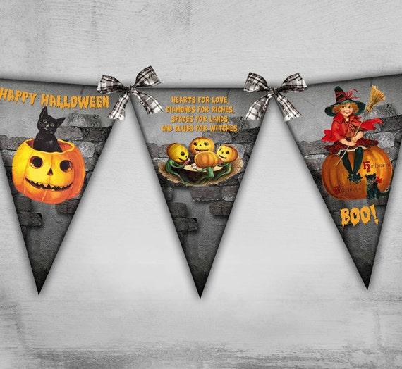 Halloween Bunting halloween wreath and halloween bunting Happy Halloween Bunting Banner Flags Printable Banner Bunting Digital Banner On Printable Sheets