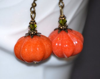 Jade pumpkin earrings, pumpkin jewelry, Halloween earrings, Fall earrings, gift