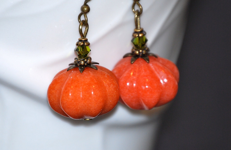 jade pumpkin earrings pumpkin jewelry earrings