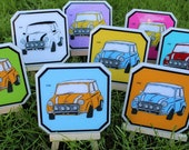 Mini Cooper Vintage Car Coasters - Set of 4