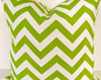 GREEN PILLOW GREEN Chevron Pillow Covers Chartreuse Green Throw Pillow Covers Green Pillows 14x14 16x16 Home Decor .Sale.