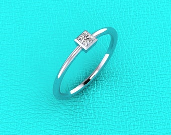 14K white gold Princess cut bezel set diamond band