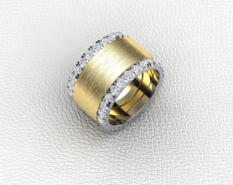 """14K two tone diamond and gold ladies """"Cigar"""" band"""