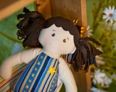 PATRIOT GIRL Doll, Treehouse Kids Dolls are Waldorf and Vintage Inspired, Modern Rag Dolls, Toy