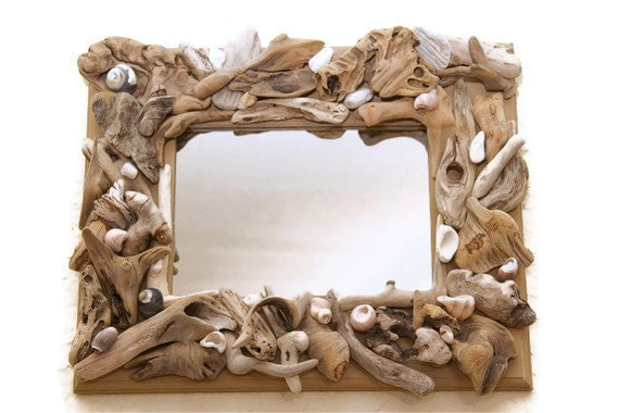 Driftwood Mirror With Seashells