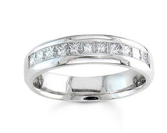 14kt white gold Princess cut diamond channel wedding band 0.50 ctw G-VS2 diamond quality