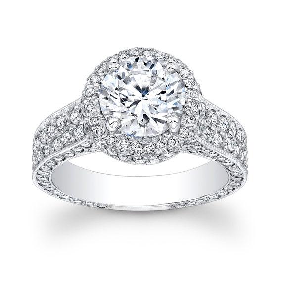 Women's platinum pave diamond halo engagement ring with 2ct Round white sapphire 1.60ctw G VS diamonds