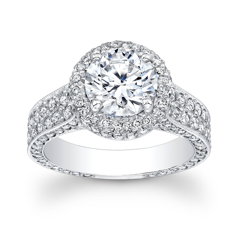 womens platinum pave diamond halo white sapphire wedding rings engagement ring with 2ct Round white sapphire 1 60ctw G VS zoom
