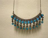 SALE-------Vintage Southwest Petite Point Turquoise Pendant