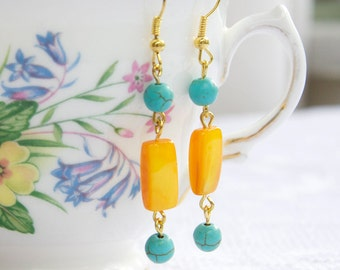Blue Turquoise and Orange Bead Gold Drop Dangle Earrings