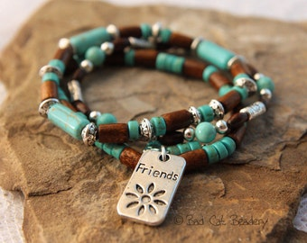 Friendship Beaded Stretch Stack Bracelet - Blue Turquoise Heishi and Wood Beads Charms