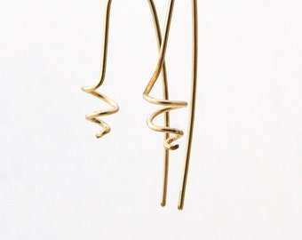 Spiral earrings gold - 14k gold filled spiral earrings Minimalist everyday earrings Silver Spiral Wire Jewelry Contemporary Uniqu