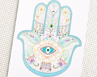 Hamsa paper card, turquoise hamsa, turquoise color, gift card, christmas gift card